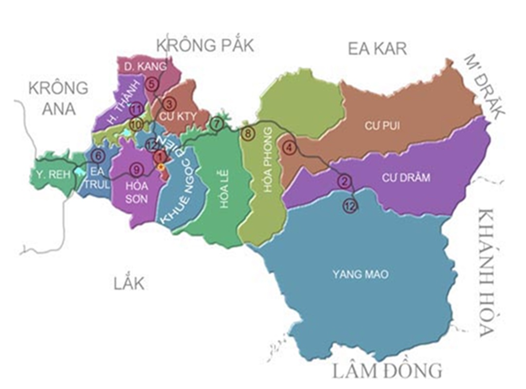 Bản đồ đơn vị hành chính Krông Bông