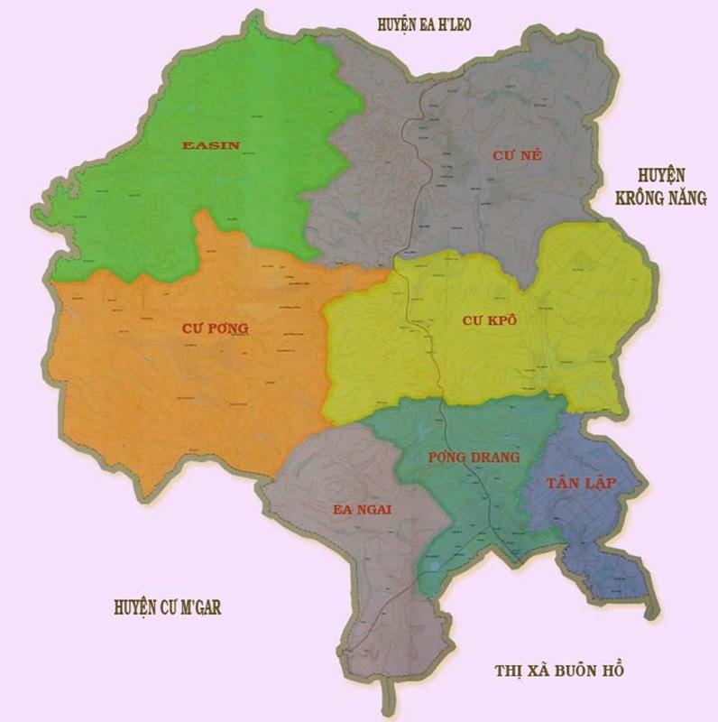 Bản đồ đơn vị hành chính Krông Búk