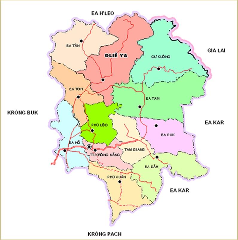 Bản đồ đơn vị hành chính Krông Năng
