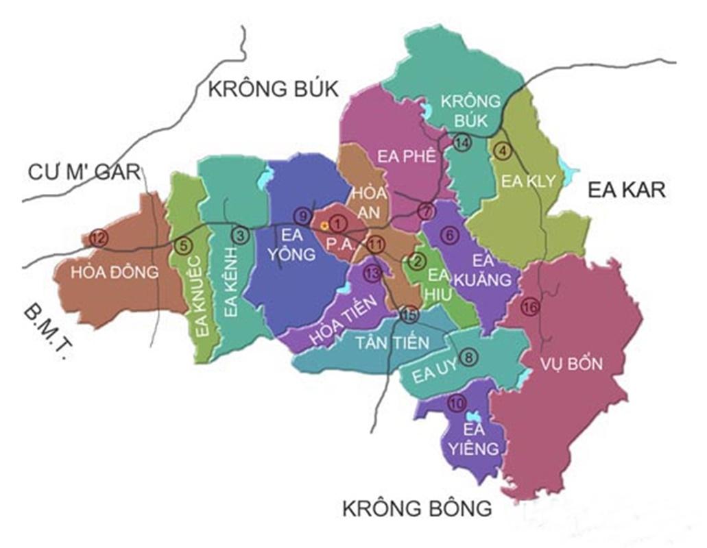 Bản đồ đơn vị hành chính Krông Pắc