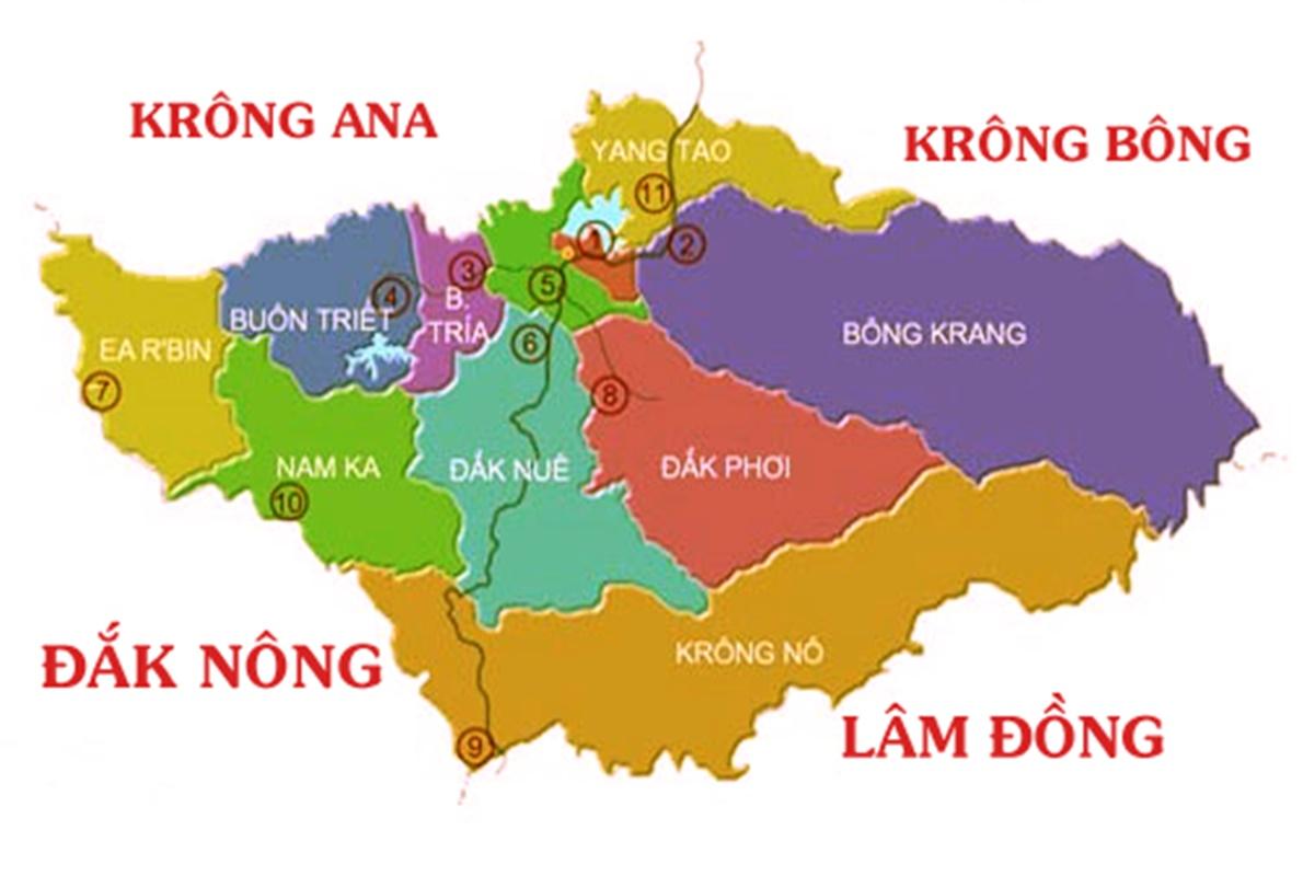 Bản đồ đơn vị hành chính Lăk