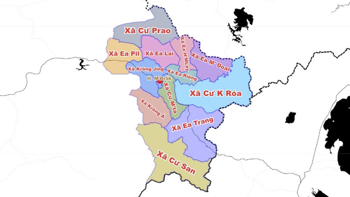 Bản đồ đơn vị hành chính M' Đrắk