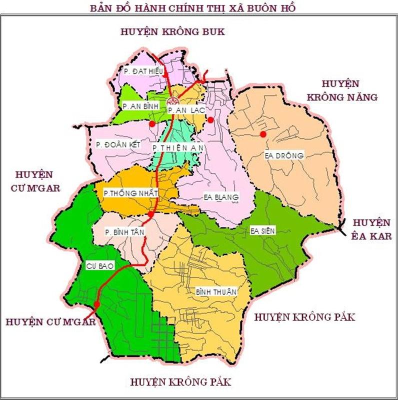 Bản đồ đơn vị hành chính tx Buôn Hồ