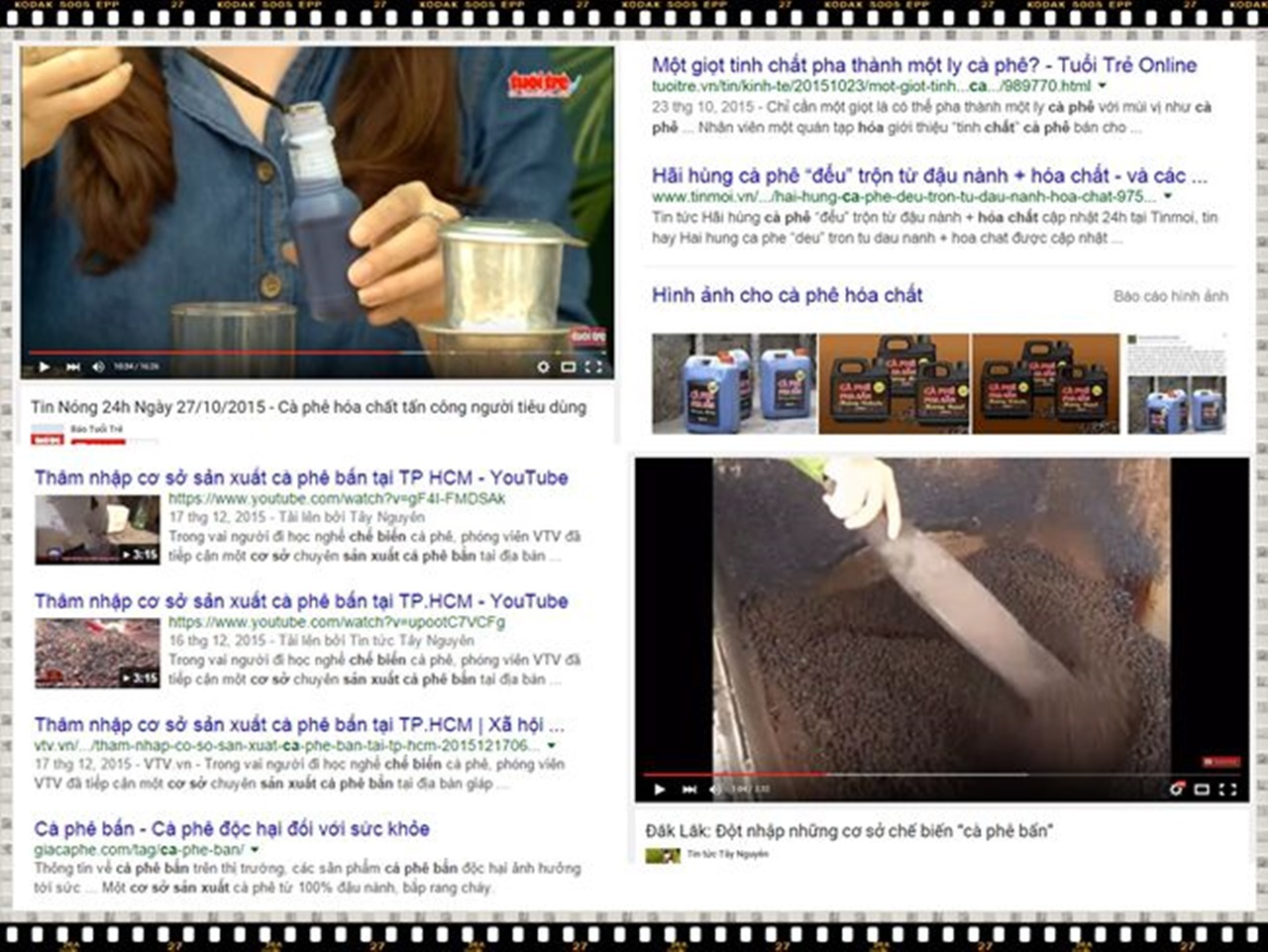 Cà phê bẩn, trộn tạp chất - cà phê hoá chất tràn lan thị trường
