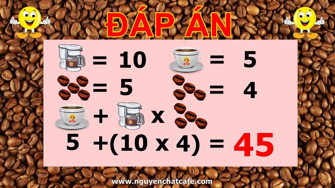 Đáp án Đố vui phép toán với cà phê