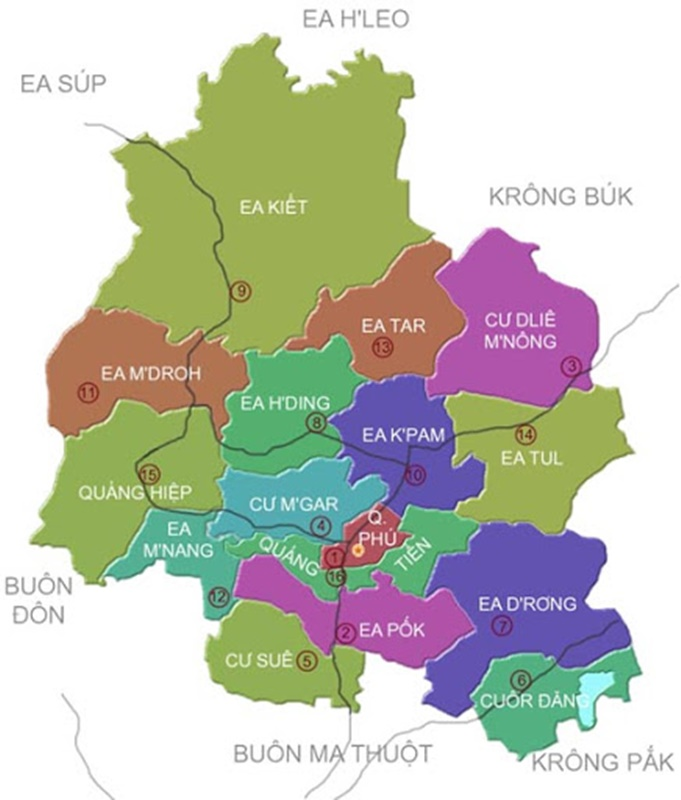 Bản đồ đơn vị hành chính Cư Mgar