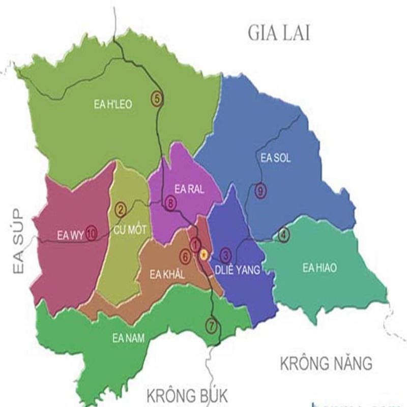 Bản đồ đơn vị hành chính Ea H'leo