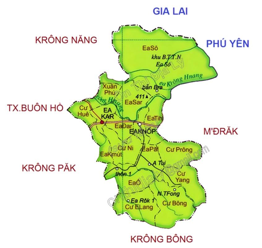 Bản đồ đơn vị hành chính Ea Kar
